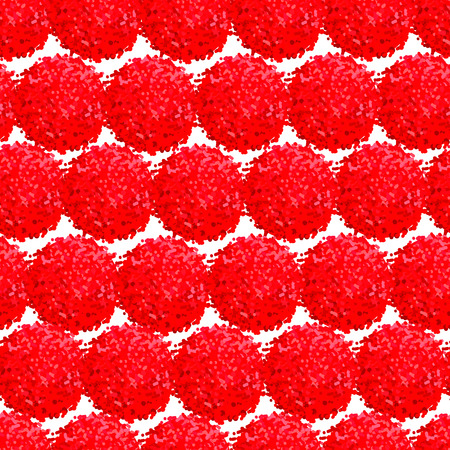 Vector seamless pattern with small furry flowers or pompoms in red bright color can be used for web, print, wallpaper, spring summer fashion, fabric, textile, card background.