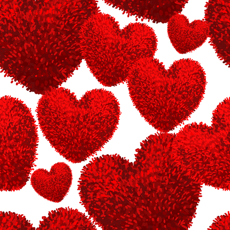 Seamless pattern with fluffy soft heart