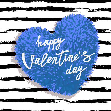 Happy Valentines Day greeting card with blue fluffy heart, soft toy on striped brushstroke background. Vector illustration. Can be used as poster, flyers, invitation, brochure, banners, sale