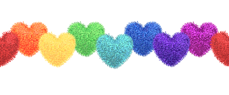 Vector colorful illustration of decortive elements with rainbow colored pompoms in shape of heart garland isolated on white background. Decor for Valentines day or baby shower design. Seamless pattern Illustration