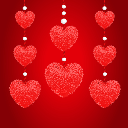 Vector colorful illustration of decortive elements with red pom-poms in the shape of a heart hanging on the ropes as garland with beads isolated on white background. Decor for Valentines day design.