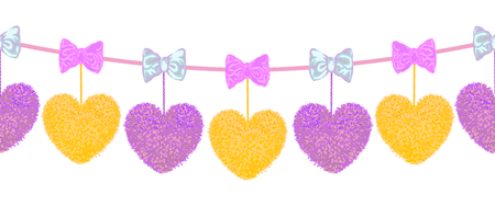 Vector colorful seamless pattern of decortive element with pompoms hearts hanging on the ropes and bows as garland isolated on white background. Decor for Valentines day or baby shower design.