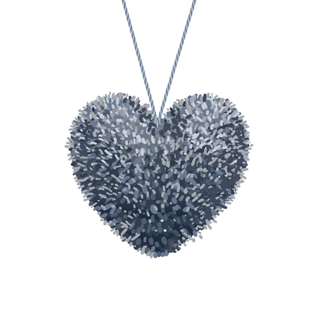 Fluffy pom-pom in the shape of a heart Vector illustration.