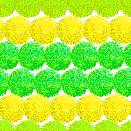Furry flowers or pompoms in bright color which can be used for web, print, wallpaper, spring summer fashion, fabric, textile, card background. Illustration