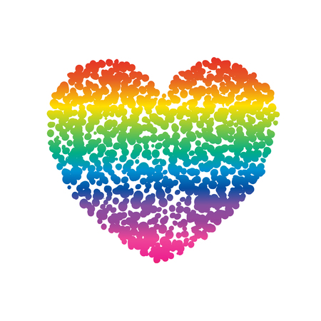 Vector colorful illustration of rainbow colored heart dots isolated on white background. LGBT symbol. Decorative elements for Valentines day design. Illustration