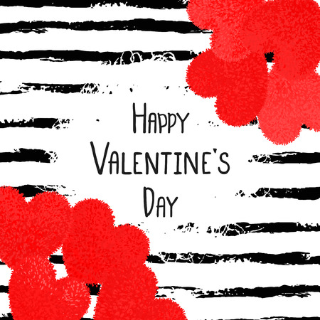 Happy Valentines Day greeting card with red fluffy heart, soft toy on striped brushstroke background. Vector illustration. Can be used as poster, flyers, invitation, brochure, banners, sale Illustration