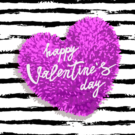 Happy Valentines Day greeting card with pink fluffy heart, soft toy on striped brushstroke background. Vector illustration. Can be used as poster, flyers, invitation, brochure, banners, sale