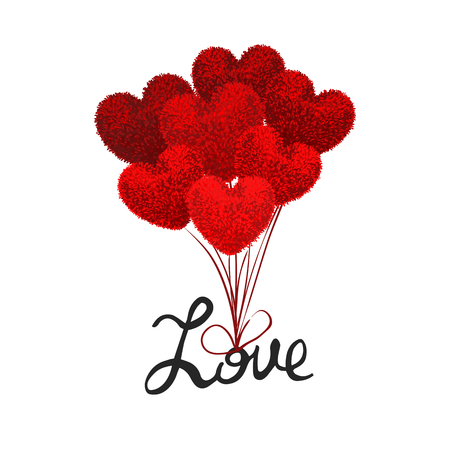 Vector colorful illustration fluffy balloons shape of heart attached to word love and lift it into air. Valentines Day cartoon style illustration. Used as posrcard, poster, flyer, brochure, banner