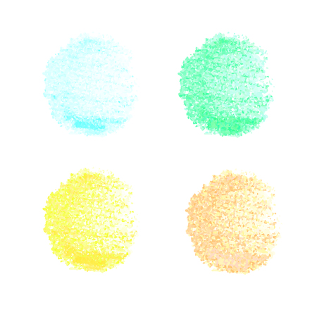 Colorful hand drawn set with chalked texture spots isolated on white background. Vector elements for your design