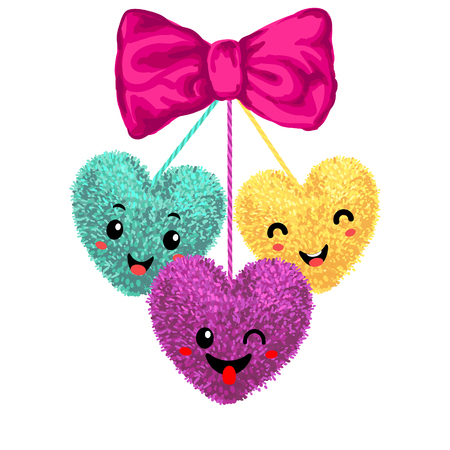 colorful illustration of decortive elements with pom-poms in the shape of a heart hanging on the ropes with bow isolated on white background. Decor for Valentines day design.