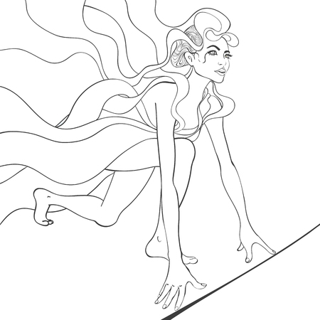 Vector black and white outline illustration of girl runner preparing for the race at the start