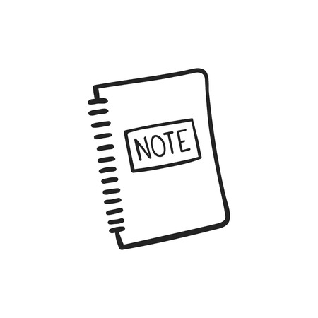 Vector hand drawn icon of note pad isolated in white background
