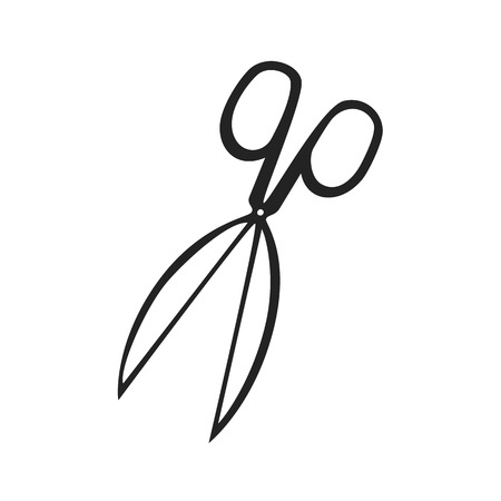 Vector hand drawn outline icon of openned scissors isolated on white background
