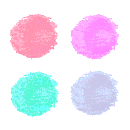 Colorful hand drawn set with watercolor texture spots isolated on white background. Vector elements for your design Stock Illustratie