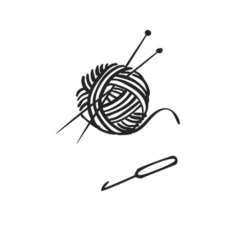 Vector hand drawn icon of knitting with ball of yarn, needles knitting and crochet isolated on white background Illustration