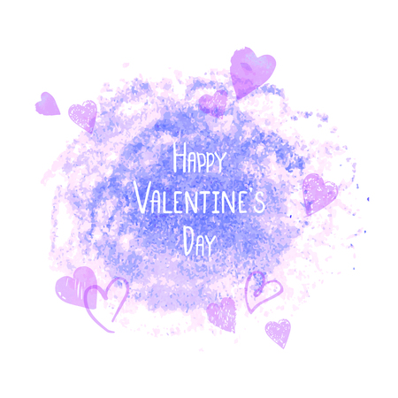 Happy Valentines Day greeting card with pale red watercolor background vector illustration can be used as poster, flyers, invitation, brochure, banners, sale.  イラスト・ベクター素材