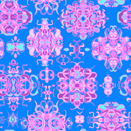Vector seamless background with colorful abstract shape and lines of vegetative character in a retro style. Can be used for wallpaper, pattern fills, web page, textures, textile print, wrapping paper