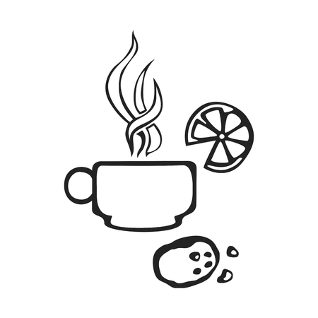 Vector hand drawn icon cap of tea isolated on white background