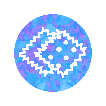 Vector hand drawn outline icon of tissue sample isolated on round watercolor background.
