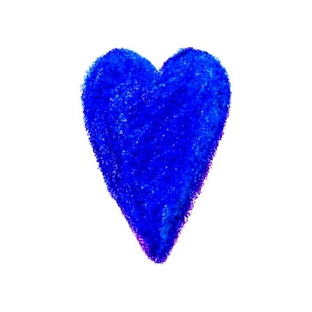 Colorful vector illustration heart shape drawn with blue colored pencil child drew isolated on white background.  イラスト・ベクター素材