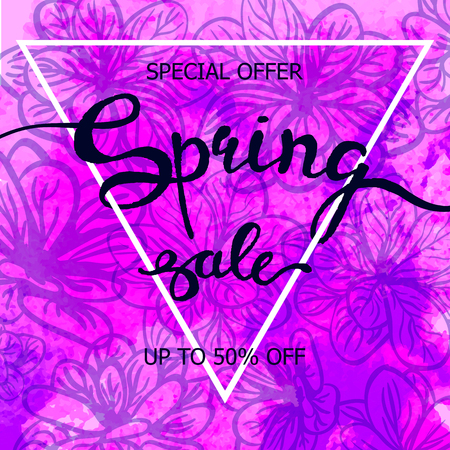 Vector colorful poster Spring sale with triangular frame, watercolor texture and floral background. Illustration can be used as card, flyer, banner Standard-Bild - 93685892
