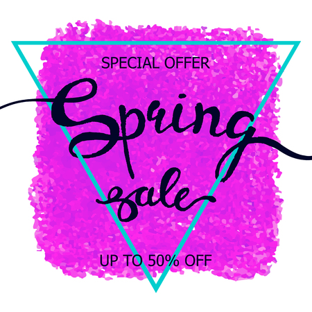 Vector colorful poster Spring sale with triangular frame, crayon scribble texture background. Illustration can be used as card, flyer, banner