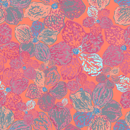 Vector colorful floral background. Seamless pattern with flowers. Can be used for wallpaper, pattern fills, web page background, surface textures, textile print. Illusztráció