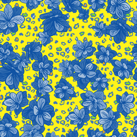 Vector seamless background with colorful illustration the skin of a leopard or Cheetah with flowers. Can be used for wallpaper, pattern fills, web page, surface textures, textile print, wrapping paper Standard-Bild - 93711530