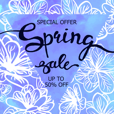 Colorful poster Spring sale with triangular frame, watercolor texture and floral background. Illustration can be used as card, flyer, banner.