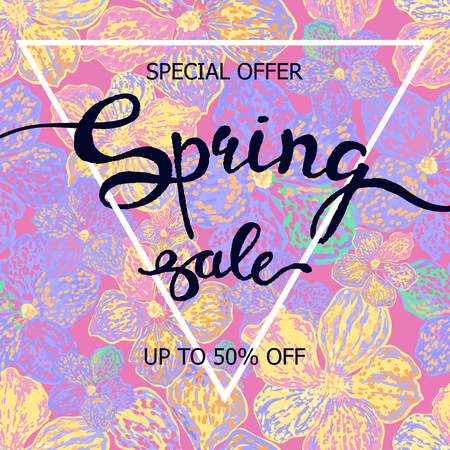 A Vector colorful poster Spring sale with triangular frame, floral background. Illustration can be used as card, flyer, banner