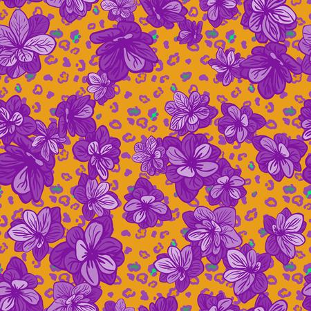 Vektor nahtlose Hintergrund mit bunten Illustration der Haut eines Leoparden oder Gepard mit Blumen Standard-Bild - 94223780