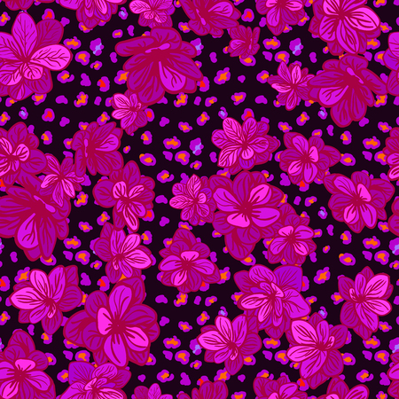 Vector seamless background with colorful illustration the skin of a leopard or Cheetah with flowers.