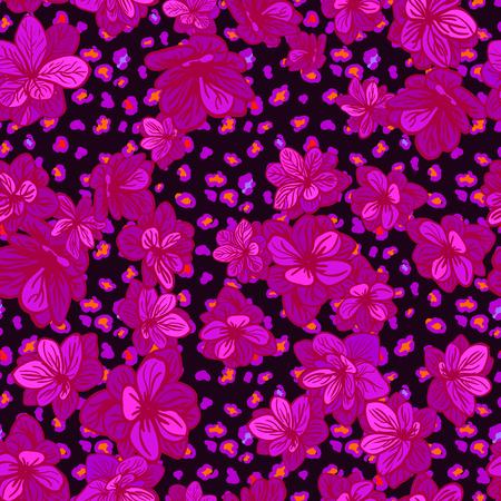 Vektor nahtlose Hintergrund mit bunten Illustration der Haut eines Leoparden oder Gepard mit Blumen Standard-Bild - 94223781