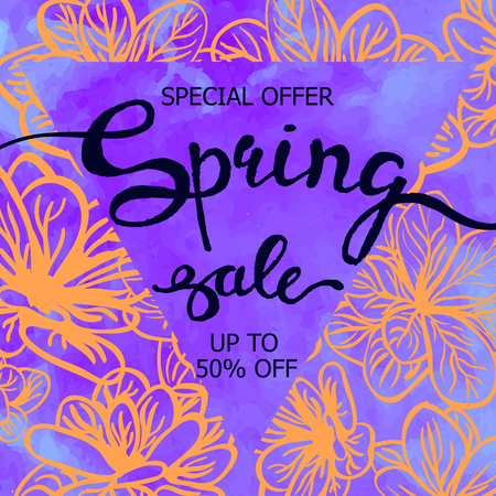 Vector colorful poster Spring sale with triangular frame, watercolor texture and floral background. Illustration can be used as card, flyer, banner