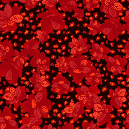 Vector seamless background with colorful illustration the skin of a leopard or Cheetah with flowers. Can be used for wallpaper, pattern fills, web page, surface textures, textile print, wrapping paper Standard-Bild - 94518772