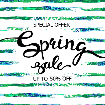 Colorful vector poster spring sale with abstract striped watercolor texture background. Illustration can be used as card, flyer, banner.