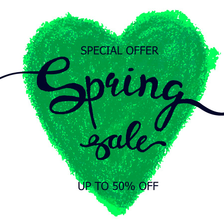 Colorful vector poster spring heart, crayon scribble texture background. Illustration can be used as card, flyer, banner.