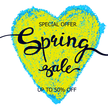 Vector colorful poster Spring heart, crayon scribble texture background. Illustration can be used as card, flyer, banner