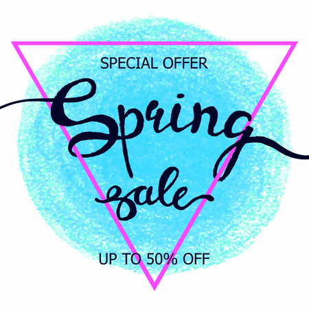 Colorful vector poster spring sale with triangular frame, crayon scribble texture background. Illustration can be used as card, flyer, banner.