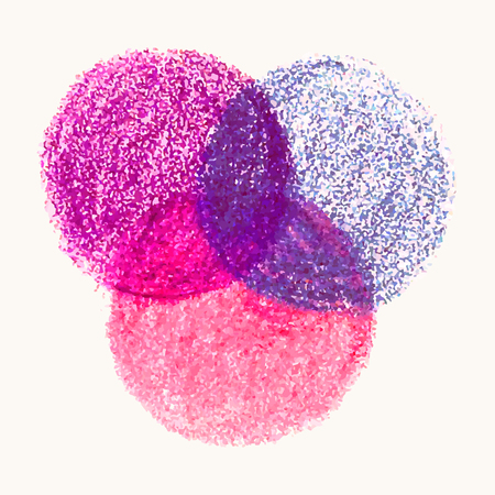 Colorful illustration of three round shape with crayon scribble vector texture overlap each other, isolated on white background. Design template for poster, banner, flyers, brochure, infographics.