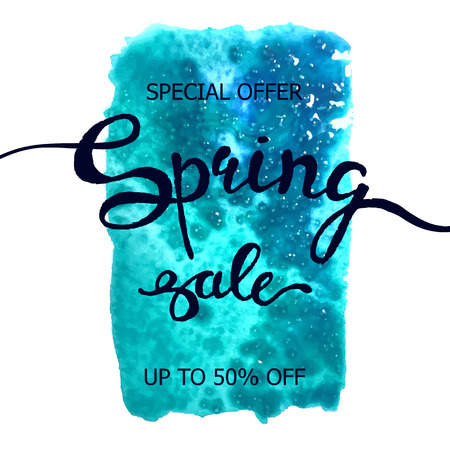 Vector colorful poster Spring sale with abstract watercolor texture background. Illustration can be used as card, flyer, banner Illustration