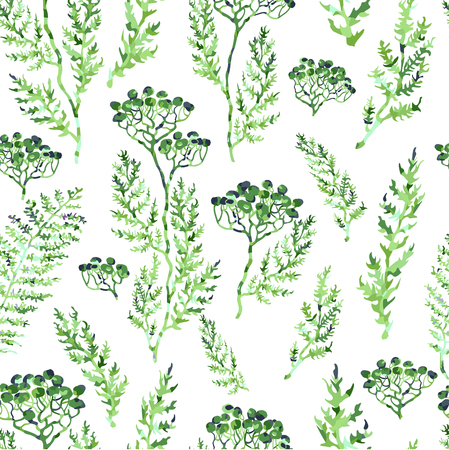 Vector seamless background with colorful watercolor illustration of herbs, plants and flowers. Can be used for wallpaper, pattern fills, web page, surface textures, textile print, wrapping paper