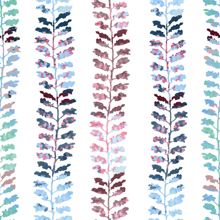 Vector seamless background with colorful watercolor illustration of stripe of herbs or plants. Can be used for wallpaper, pattern fills, web page, surface textures, textile print, wrapping paper