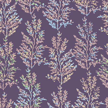 Vector seamless background with colorful watercolor illustration of herbs, plants. Can be used for wallpaper, pattern fills, web page, surface textures, textile print, wrapping paper