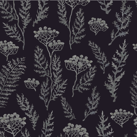 Vector seamless background with hand drawn illustration of herbs, plants and flowers on dark field. Can be used for wallpaper, pattern fills, web page, surface textures, textile print, wrapping paper