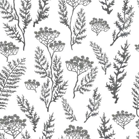 Vector seamless background with hand drawn illustration of herbs, plants and flowers. Can be used for wallpaper, pattern fills, web page, surface textures, textile print, wrapping paper Illustration