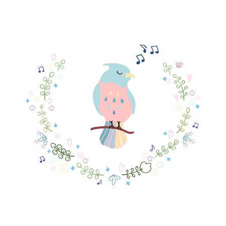 Vector colorful illustration of cute bird and wreath. Can be used for childish t-shirt print, textile print, cloth, baby wear, kids room decoration, invitation, greeting card, and posters Иллюстрация