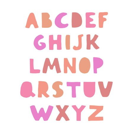 Vector cute colorful alphabet for kids. Can be used as elemets for your design for greeting cards, nursery, poster, card, birthday party, packaging paper design, baby t-shirts prints