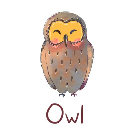 Vector colorful illustration of cute owl isolated on white background. Can be used as elemets for your design for greeting cards, nursery, poster, card, birthday party, packaging paper design, baby t-shirts prints Illustration