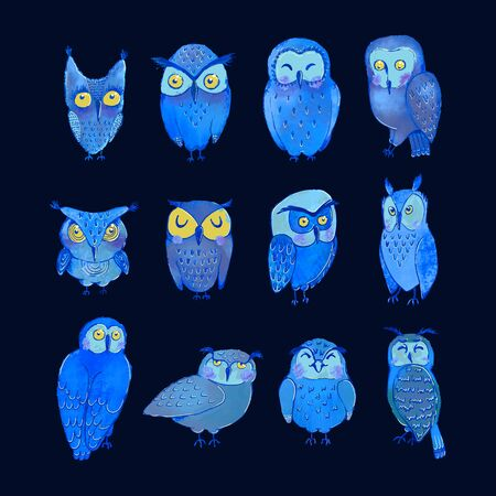 Vector colorful set with illustrations of cute night owls. Can be used as elemets for your design for greeting cards, nursery, poster, card, birthday party, packaging paper design, baby t-shirts prints